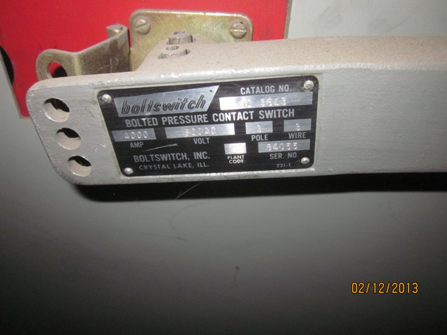 Belyea Company Electric Power Systems Easton Pa: 4000 Amp, COOPER, No. SL3613, 600 V, BOLTED PRESSURE