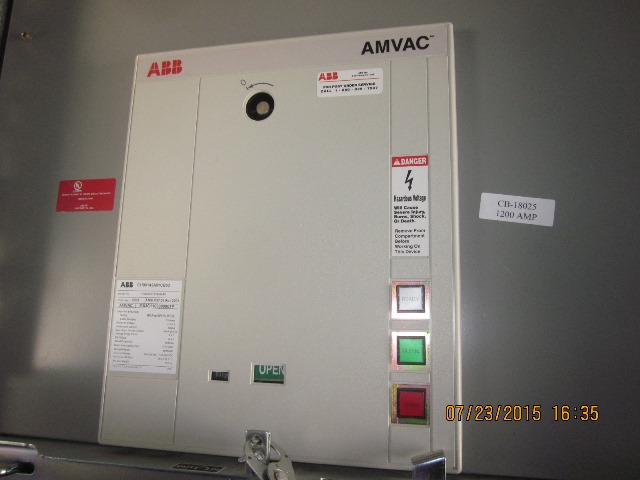 Belyea Company Electric Power Systems Easton Pa: 1200 Amp, ABB, AMVAC, 4160 V., 2009, ELECTRICALLY OPERATED