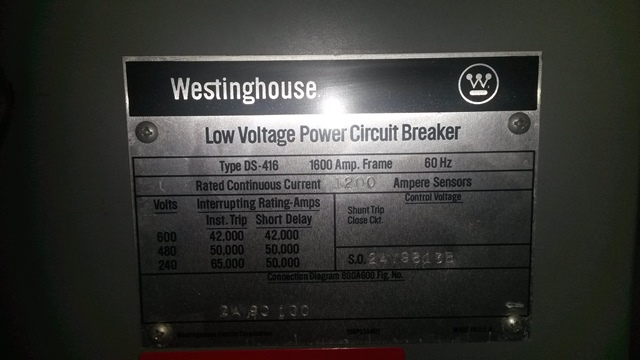 1600 amp, westinghouse, ds416, 480 v , m o, d o, 120 vac shunt trip0c2180 circuit breakers, air \u0026 vacuum (to 1000 volts) 1600 amp, westinghouse, ds416, 480 v , m o, d o, 120 vac shunt trip ref 41512